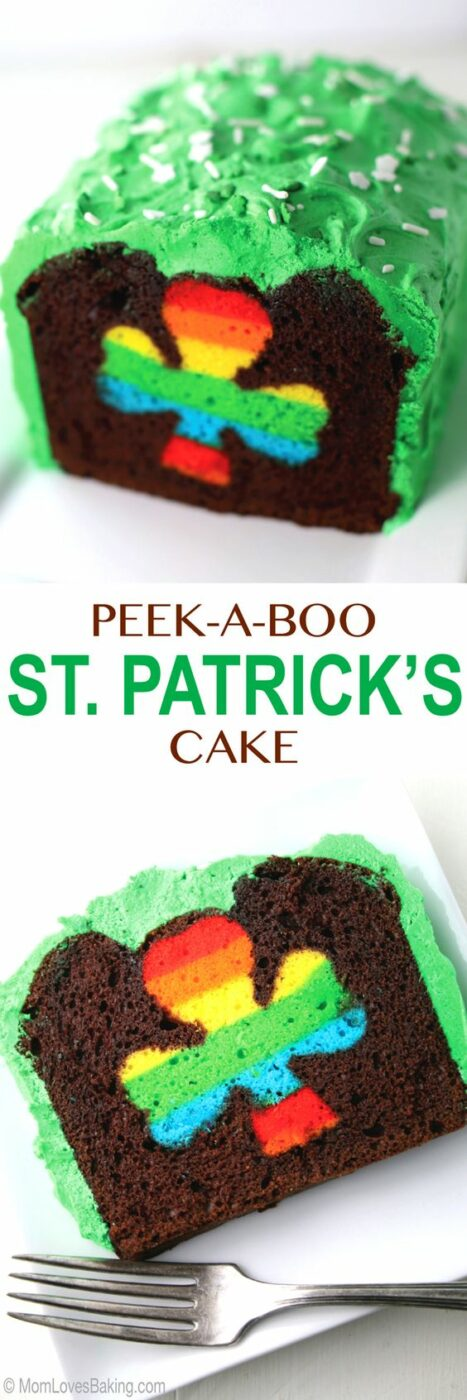Chocolate loaf cake with green buttercream frosting and rainbow shamrock in the middle recipe. Perfect for St. Patrick's Day! via Mom Loves Baking #easystpatricksdaydesserts #stpatricksday #stpatricksdayparty #stpatricksdaypartyfood #lucky #luckygreen #luckytreats #shamrocks #clovers #rainbowtreats #leprechantreats