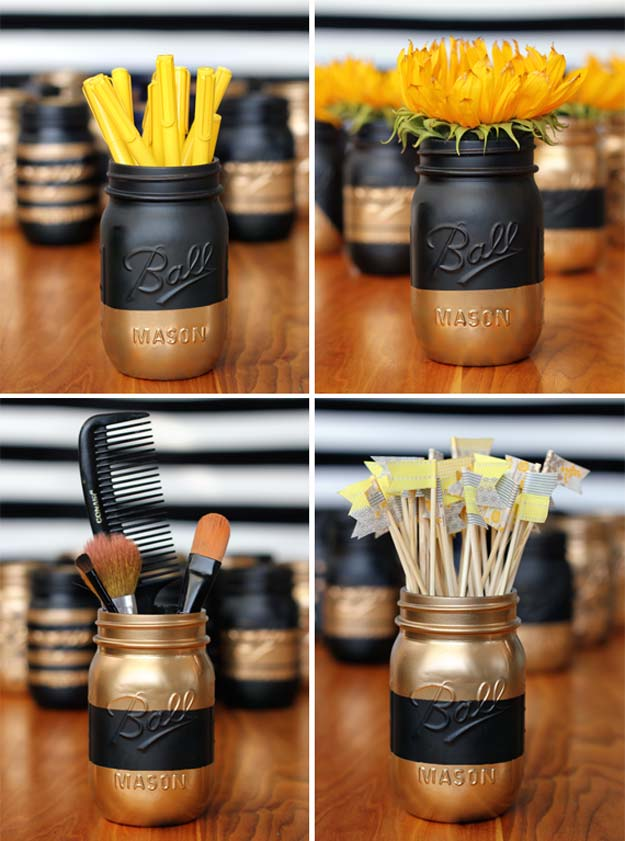 DIY Makeup Organizing Ideas - Painted Patterned Mason Jar - Projects for Makeup Drawer, Box, Storage, Jars and Wall Displays - Cheap Dollar Tree Ideas with Cardboard and Shoebox - Wood Organizers, Tray and Travel Carriers http://diyprojectsforteens.com/diy-makeup-organizing