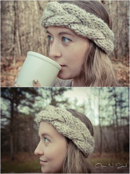 Knit Cable Crown Headband