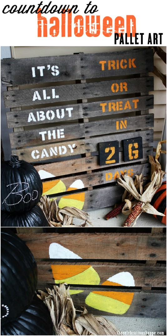DIY Countdown To Halloween Sign - 25 Fantastic Reclaimed Wood Halloween Decorations For Your Home And Garden