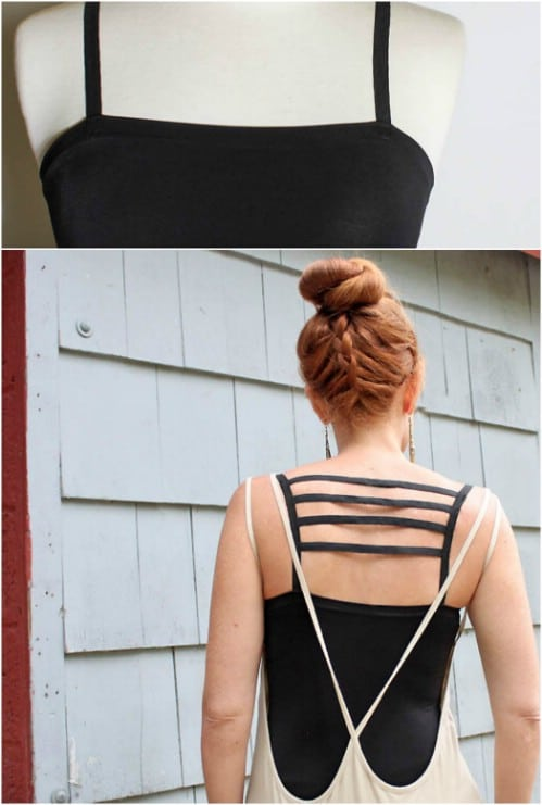 Add some extra straps to the back of a tank top.