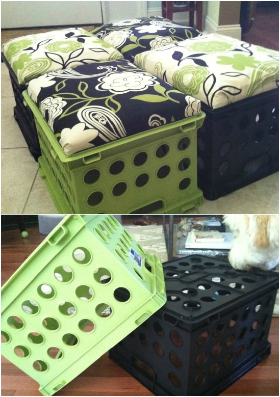 Upcycled Milk Crate Stools