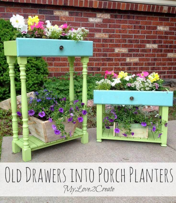 Springy DIY Upcycled Drawer Planters