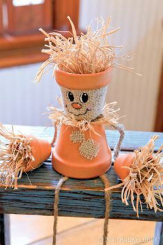 DIY Terracotta Pot Scarecrow