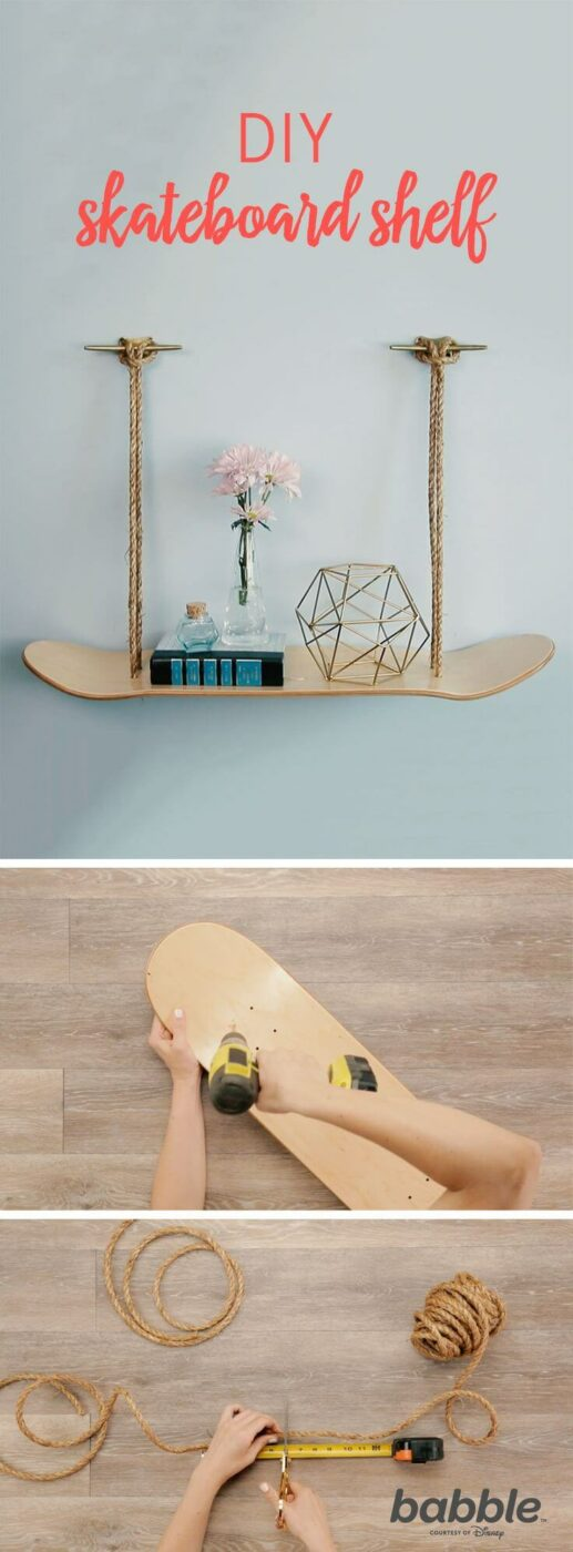 DIY Hanging Recycled Skateboard and Rope Storage
