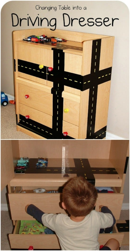 Repurposed Changing Table Into Driving Dresser