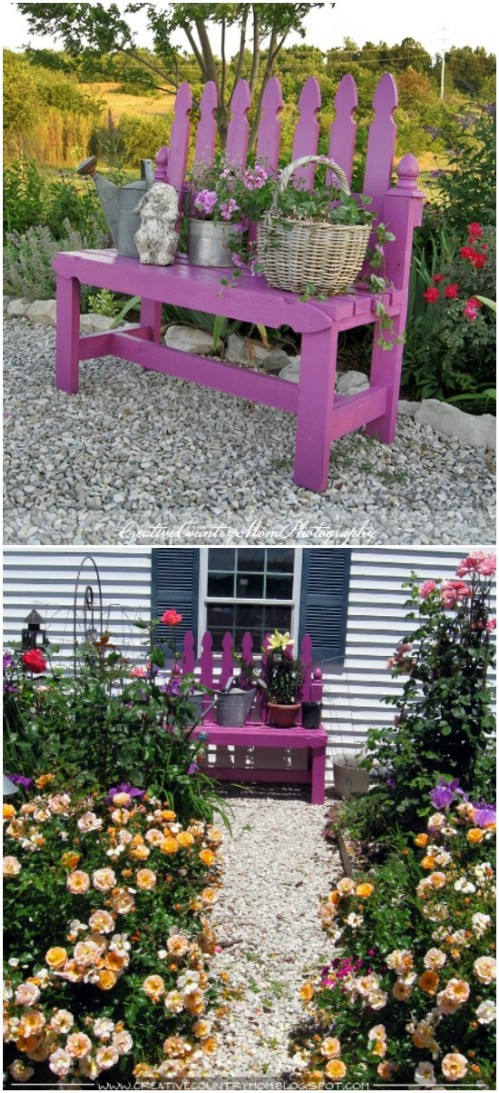 Cute And Colorful Picket Fence Bench
