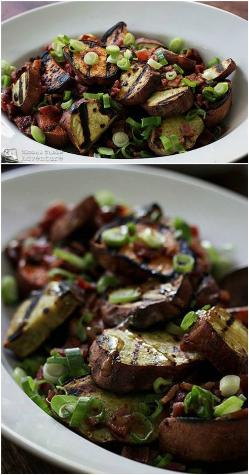 Grilled Sweet Potato And Bacon Salad