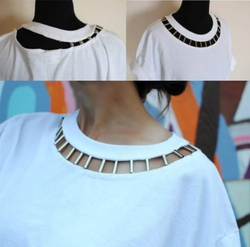 Jazz up the collar of a boring T-shirt.