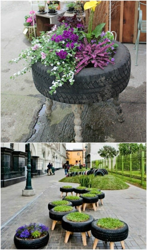 Repurposed Tire Planter