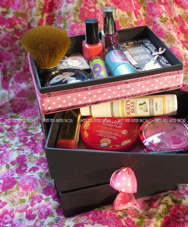 DIY Makeup Organizing Ideas - Stylish Beauty Box Makeup Organizer - Projects for Makeup Drawer, Box, Storage, Jars and Wall Displays - Cheap Dollar Tree Ideas with Cardboard and Shoebox - Wood Organizers, Tray and Travel Carriers http://diyprojectsforteens.com/diy-makeup-organizing