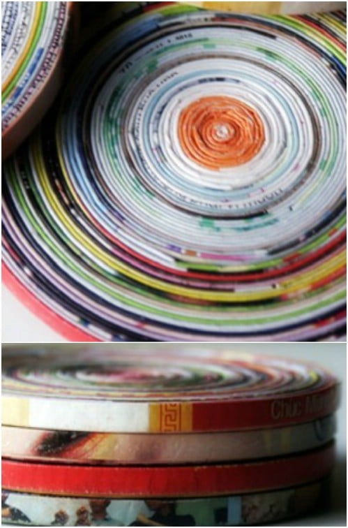 DIY Coiled Magazine Page Coasters
