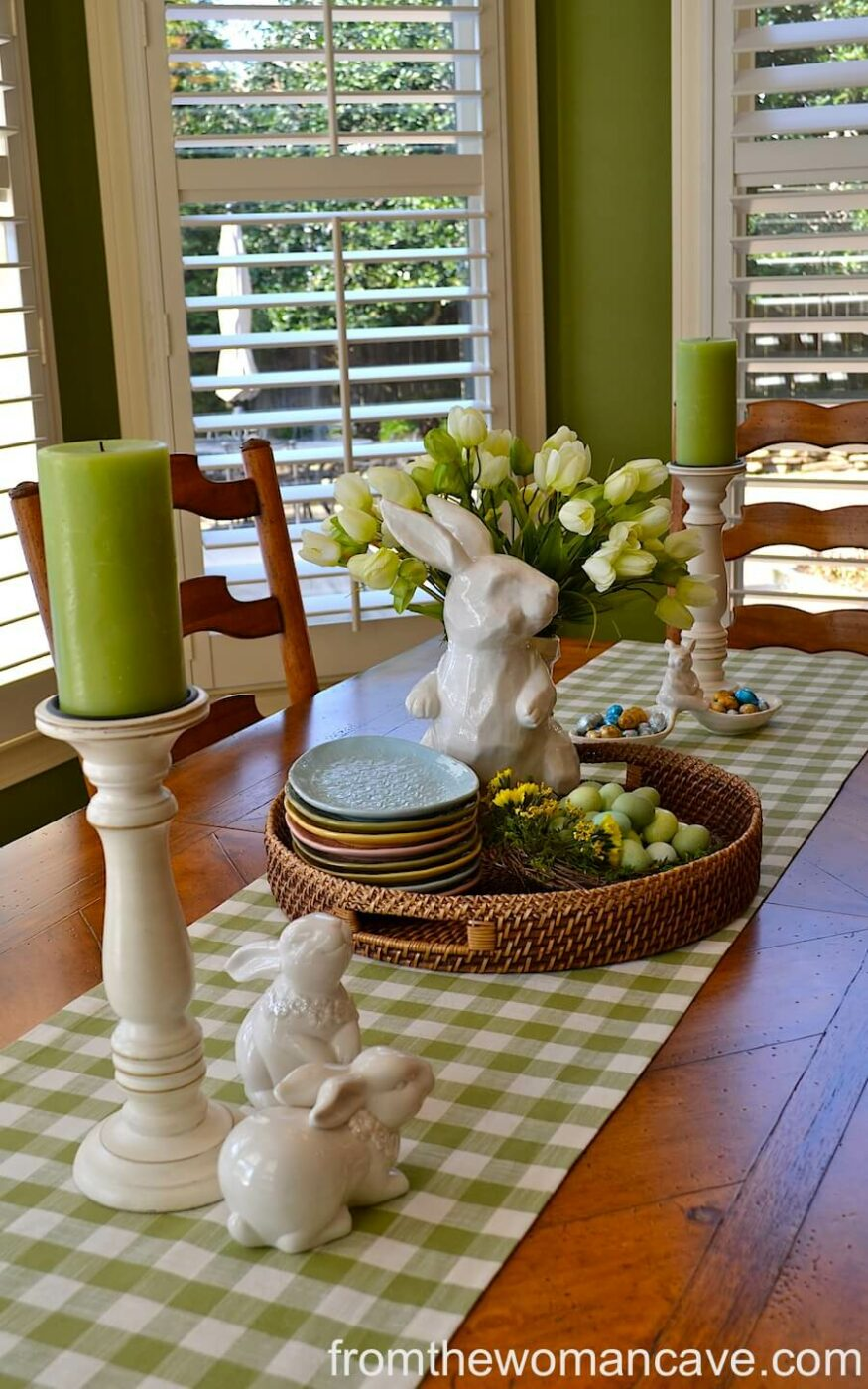 Green Gingham Bunny Runner Display