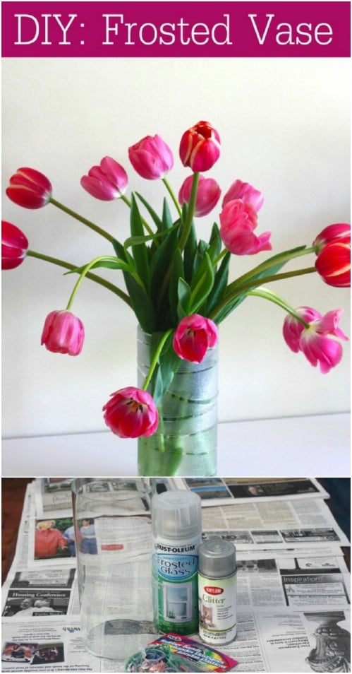 Easy Rubber Band Frosted Vase