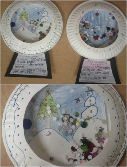 Paper Plate Three Dimensional Snow Globe