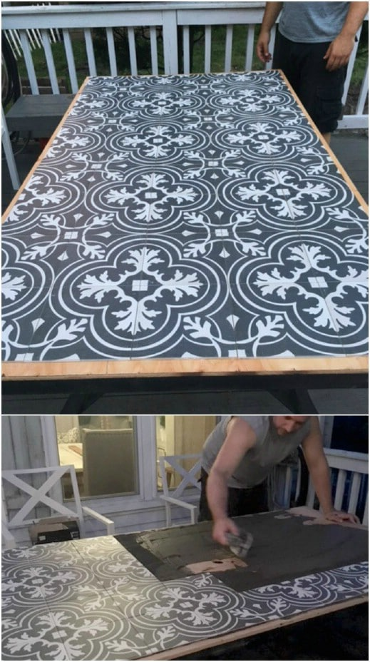 DIY Tile Covered Patio Table