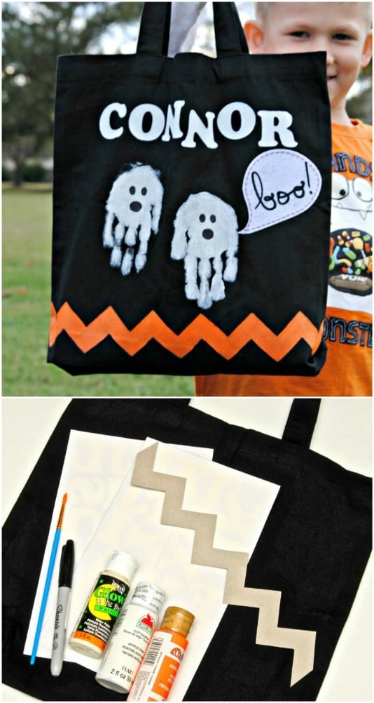 Easy Handprint Ghost Trick-Or-Treat Bag