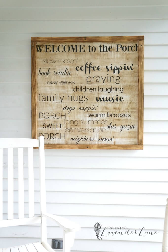 Framed DIY Front Porch Words Sign