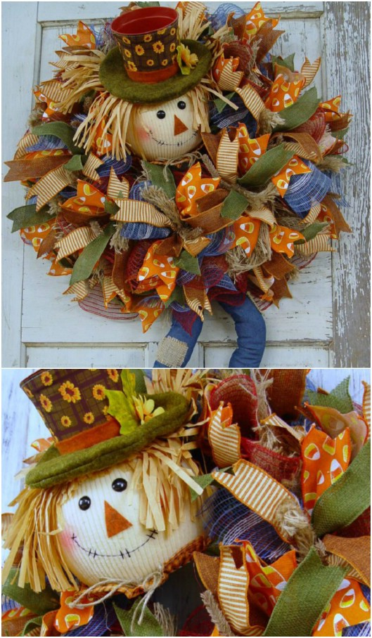 Cute DIY Scarecrow Wreath With Legs