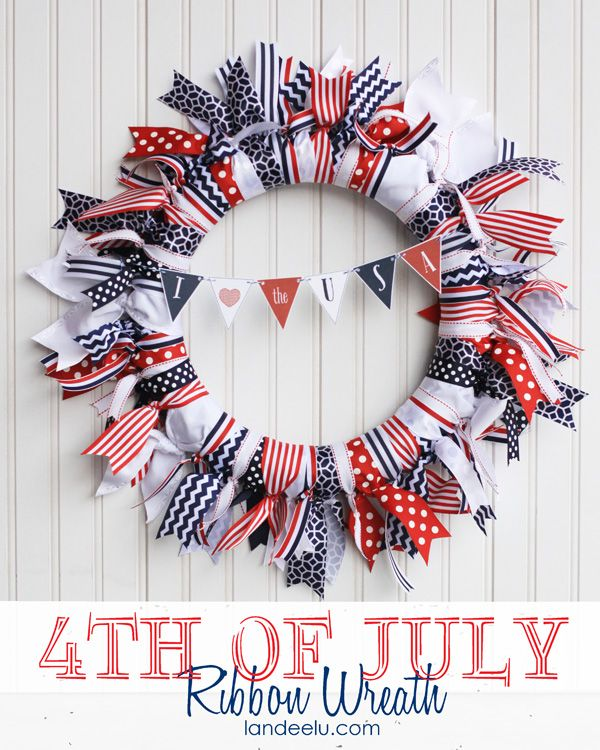 Patriotic Ribbon Wreath - Landee See Landee Do