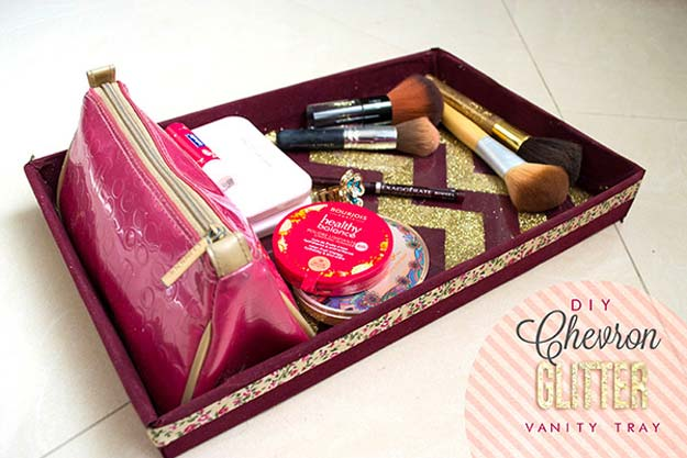 DIY Makeup Organizing Ideas - Chevron Glitter Vanity Tray - Projects for Makeup Drawer, Box, Storage, Jars and Wall Displays - Cheap Dollar Tree Ideas with Cardboard and Shoebox - Wood Organizers, Tray and Travel Carriers http://diyprojectsforteens.com/diy-makeup-organizing