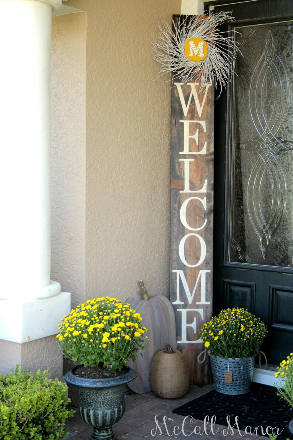 Monogram Wreath Entryway Welcome Sign