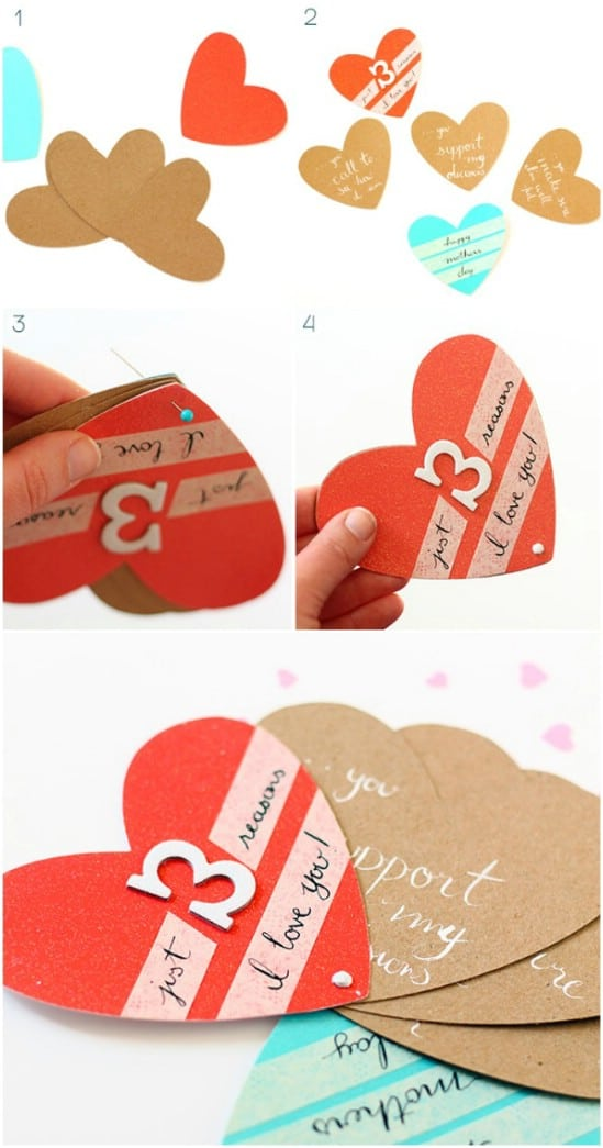 DIY Mother's Day Heart Fan Card