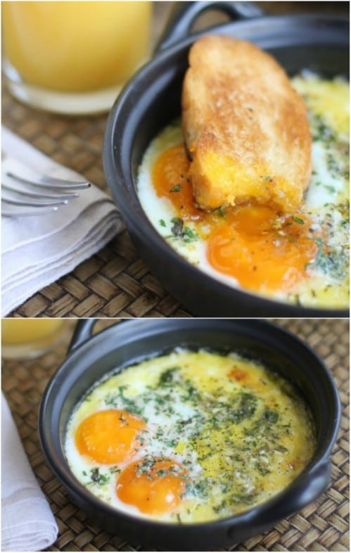 Low Calorie Herb Baked Eggs