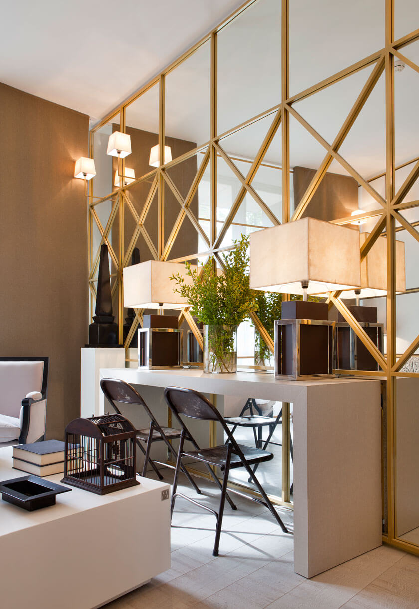 Modern Gold Geodesic Mirror Wall