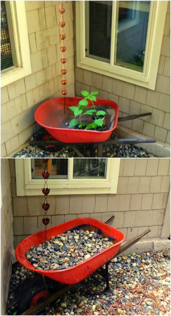 Repurposed Wheelbarrow Rain Catcher