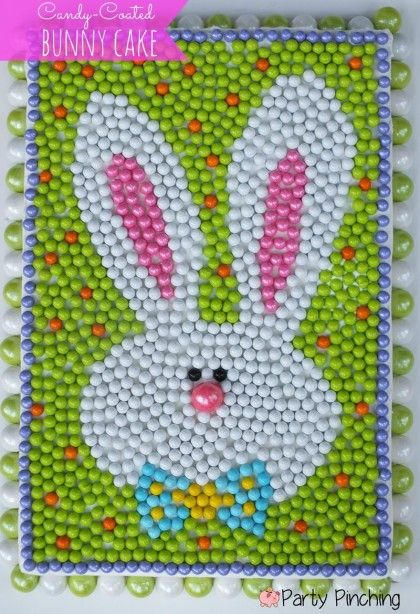 20+ Creative DIY Easter Bunny Cake Recipes --> DIY Candy-Coated Easter Bunny Cake