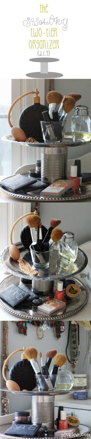 DIY Makeup Organizing Ideas - The Swanky Two-Tier Organizer - Projects for Makeup Drawer, Box, Storage, Jars and Wall Displays - Cheap Dollar Tree Ideas with Cardboard and Shoebox - Wood Organizers, Tray and Travel Carriers http://diyprojectsforteens.com/diy-makeup-organizing
