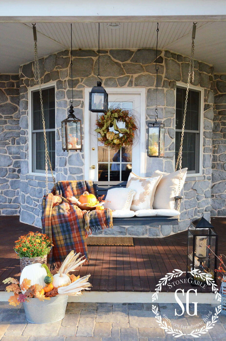 Accessories Transform Your Porch Swing for Fall