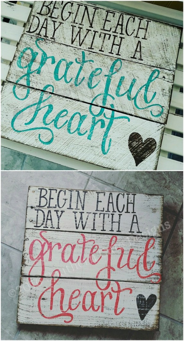 Grateful Heart Distressed Sign