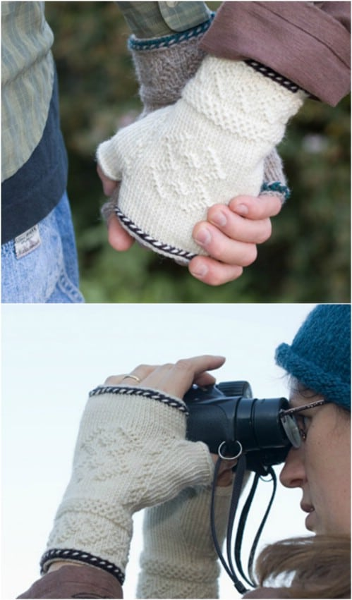 Twine Knit Half Mitts