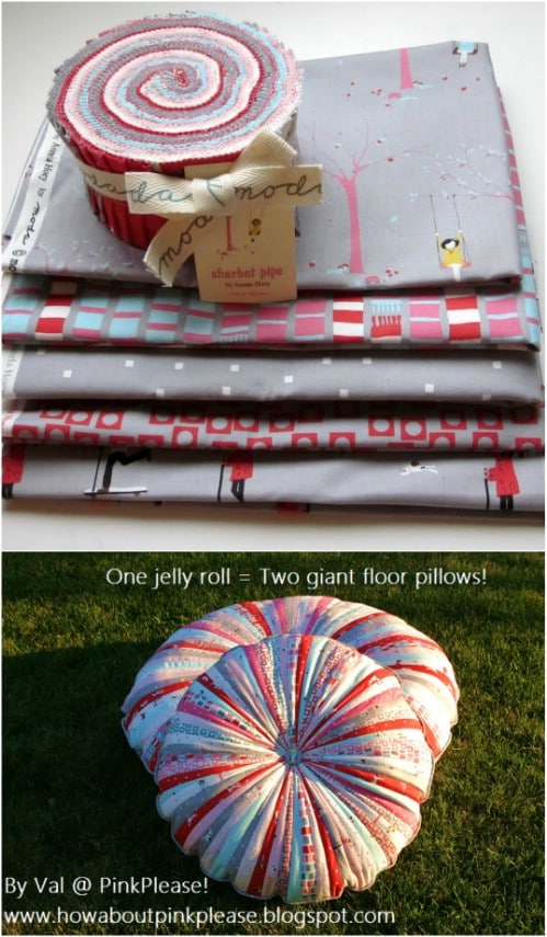 Giant DIY Jelly Roll Pillows
