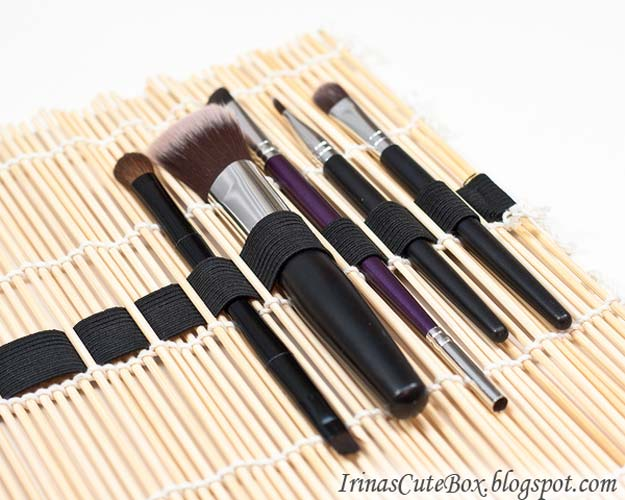 DIY Makeup Organizing Ideas - Sushi Mat Roll-up - Projects for Makeup Drawer, Box, Storage, Jars and Wall Displays - Cheap Dollar Tree Ideas with Cardboard and Shoebox - Wood Organizers, Tray and Travel Carriers http://diyprojectsforteens.com/diy-makeup-organizing