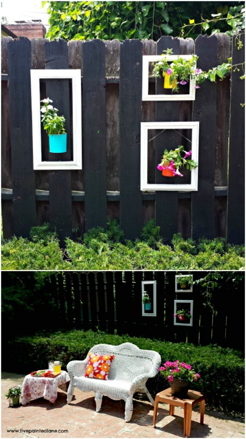 Old Picture Frame Fence Decor