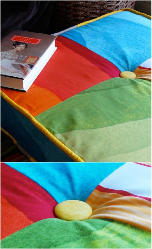 DIY Squared Patchwork Floor Cushion