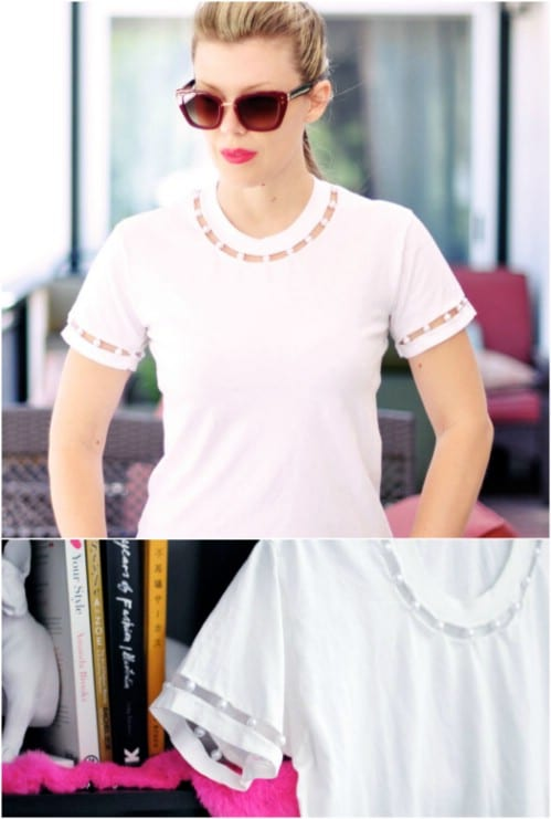 Add pearls to the neck and sleeves of a T-shirt.