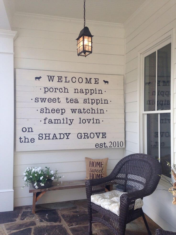 Dramatic Shiplap Farmhouse Porch Sign