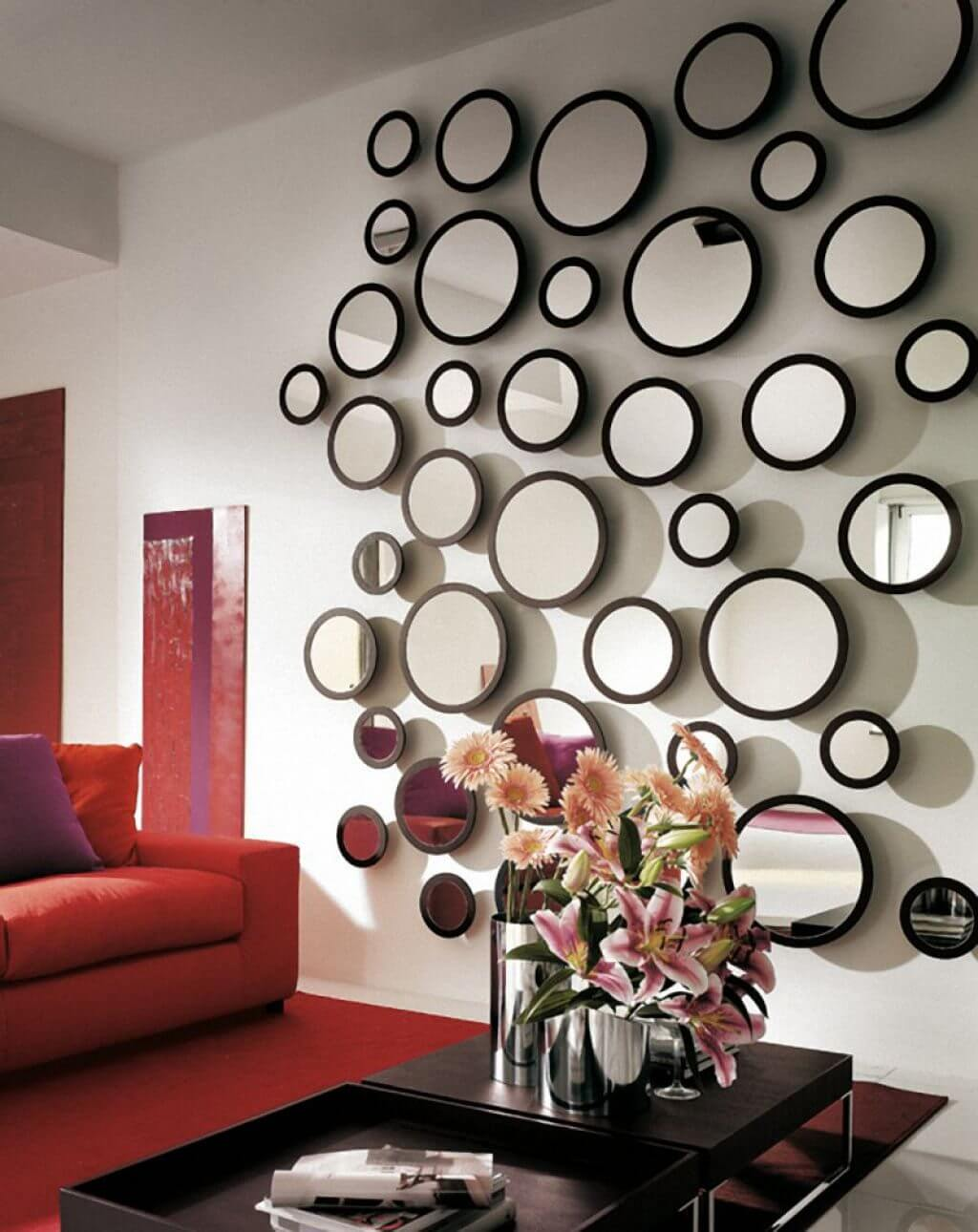 Playful Accent Wall of Round Mirrors