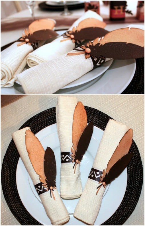 DIY Paper Feather Napkin Rings