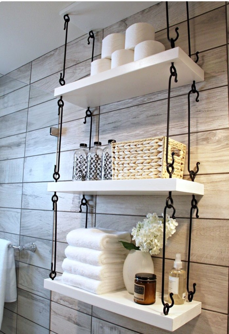 Hanging Shelves with Wrought Iron Hardware