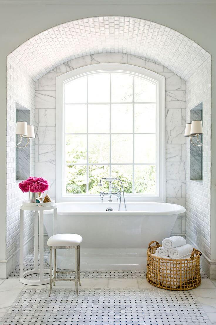 Tiled Bath Tub Nook with Window