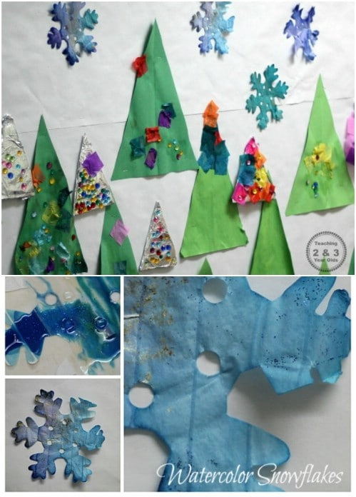 Easy Watercolor Snowflakes