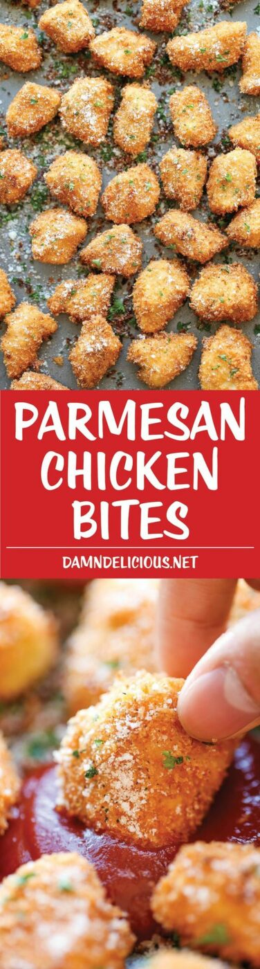 30 Minute Parmesan Chicken Bites Recipe via Damn Delicious - The best chicken nuggets you will ever have - crisp-tender and completely homemade with Parmesan goodness! - The BEST 30 Minute Meals Recipes - Easy, Quick and Delicious Family Friendly Lunch and Dinner Ideas #30minutemeals #30minutedinners #thirtyminutedinners #30minuterecipes #fastrecipes #easyrecipes #quickrecipes #mealprep
