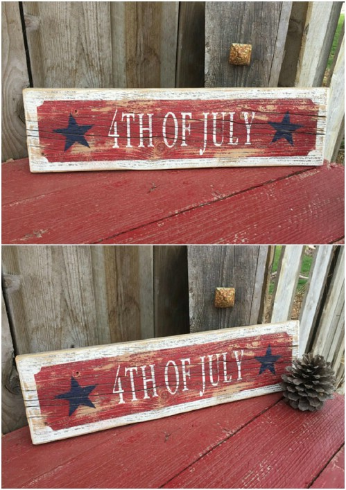 Rustic Distressed Fourth Of July Sign