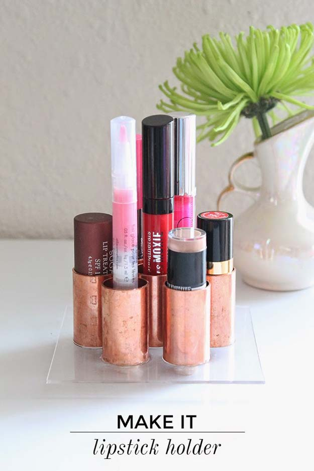 DIY Makeup Organizing Ideas - Copper Tubes - Projects for Makeup Drawer, Box, Storage, Jars and Wall Displays - Cheap Dollar Tree Ideas with Cardboard and Shoebox - Wood Organizers, Tray and Travel Carriers http://diyprojectsforteens.com/diy-makeup-organizing