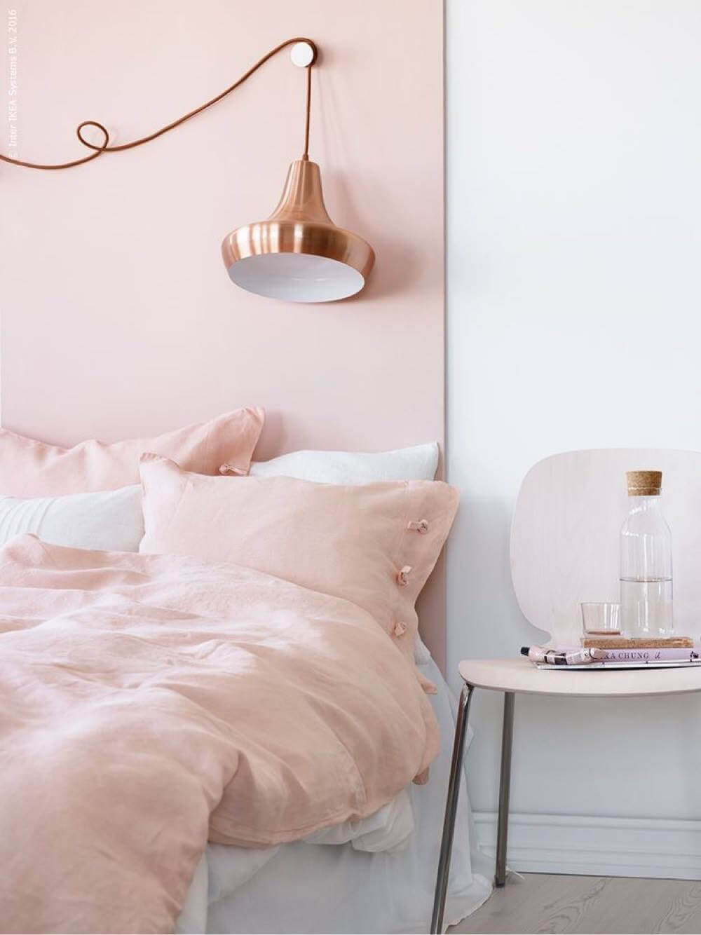 Pretty/Smart Blush Bedroom With Copper Reading Lamp